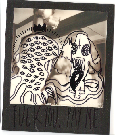 missundead:  polaroidgang:  This is Mae's failed shot. First time drawing on a pic too.  Yes. That phrase is stuck in my head a lot. Dang. TWO WORDS!