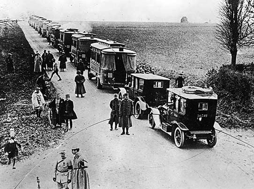 interwar:  Parisian taxicabs help to shuttle troops to the front during the Battle of the Marne, 1914.