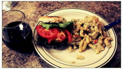 Vegan Mac n' cheese with a side of veggie burger.
