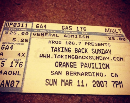 "So 5 years ago today I went to see taking back Sunday on their ""louder now"" tour with underoath. It was a pretty sweet show. A lot of production was put into TBS's set.   This is also another local show that's only about a half hour from where I live. Most shows I go to are at least an hour drive away."