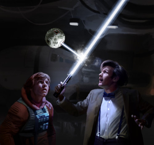 "truthisademurelady:  Star Wars - Doctor Who crossover by *Drombyb ""Ooh, isn't that smashing!  Look at that waveform damping, that is really something!  Obi-wan never let me play with his lightsaber, the stodgy old codger."""