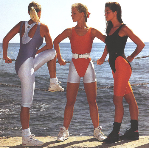A spandex girl group showing off color blocking the 80's way.