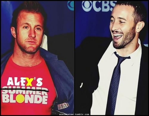 "xcsimisiax:  xcsimisiax: ↳  Alex & ""His Blonde"" Scotty XXL   {My new wallpaper *thud*}  Sorry but I'm just simple addicted to them LOL :) In best possible away OFC lol xD"
