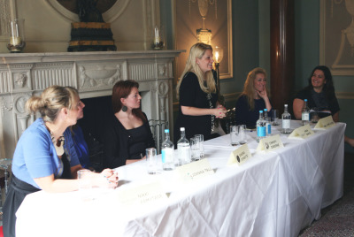 Our fantastic guest panel: (from right to left) Nikki Armytage, The Life Stylist. Joanna Tall, Off to see my Lawyer. Sandra Donskyte, Bitch-online. Christy Osborne, An American Girl in Chelsea. Anna Bance, Girl Meets Dress. Jaime Cooke, Muks. Amanda Collins, Save Your Sole.