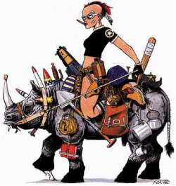 Tank Girl riding a rhinoceros, yes!