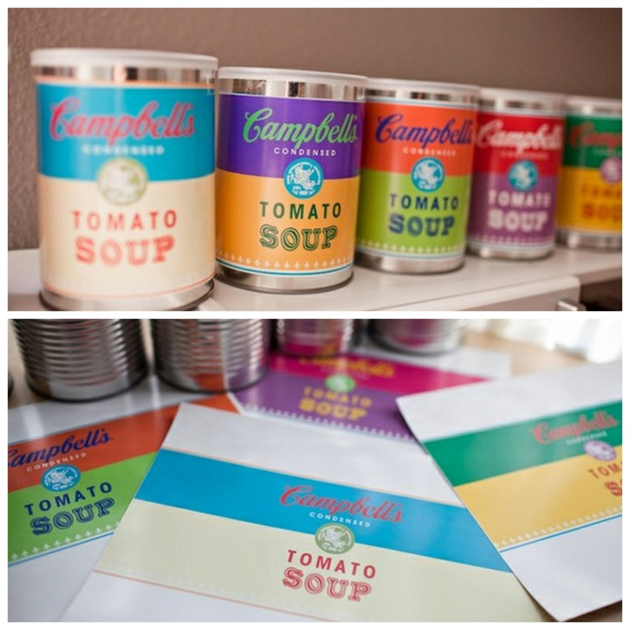 truebluemeandyou:  DIY Free Andy Warhol Campbell Soup Inspired Labels. Download the six different colors at Katie Day Photography here.  Signs you need a job:  1) You are making your own soup labels.