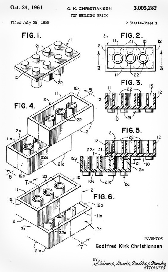 inothernews:  phenthouse:  Lego Patent Drawing from 1958  Greatest patent or greatest patent?
