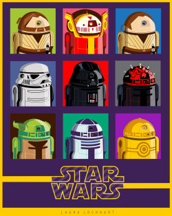 theartofstarwars:  Artwork as seen on jedigrrrl  Awesome illustration with different Star Wars characters as R2-D2.