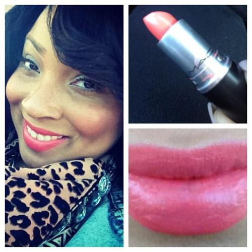 "Lip of the day! ""Vegas Volt"" Lipstick by MACI really like this color! It's an Amplified Creme shade…a really bright, corally-orange color..LOVE!"