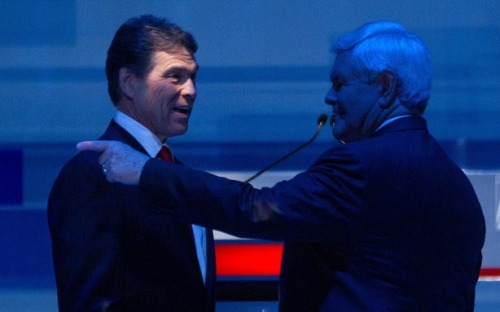 "Newt Gingrich and Rick Perry, running mates? That's a rumor that's been floating around (based on this report), but both sides deny it, with Gingrich spokesperson R.C. Hammond saying ""any sort of talks along those lines would be premature"" and Perry spokesperson Catherine Frazier calling it ""humbling but premature."" Funny, we'd argue it's too late to have these kind of discussions. (AP Photo)"