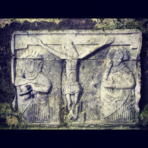 Carving of Christ's crucifixion at The Rock of Cashel (Taken with instagram)
