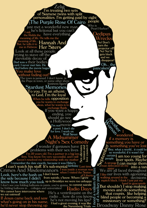Woody Allen, his films from 1980-1989 and some quotes, minimal poster made by me (Santiago Otálora ô)