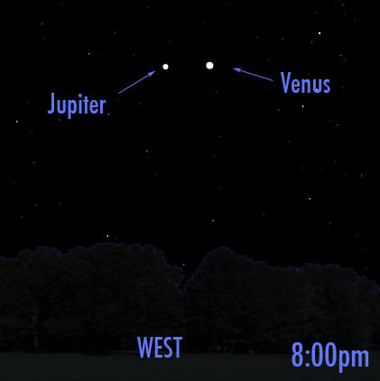 #Lookup!  Look west after sunset tonight and you'll see Venus and Jupiter just 3º from each other.  Make sure not to look too late because the duo will be too low over the horizon for most people to see after 9:00pm.
