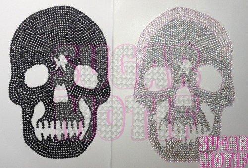 First two creations by Sugar Motif. The black skull is yet to be completed on a large canvas which will consist of three blinging skulls!