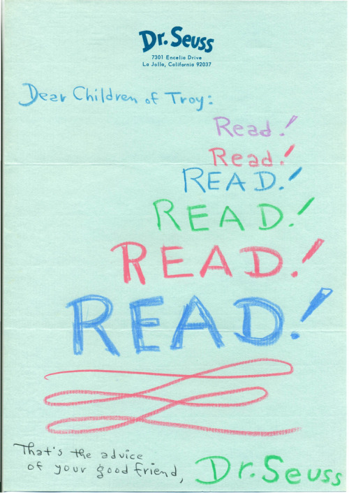 bibliophibious:  A letter from Dr. Seuss to the children of Troy, Michigan, before the opening of their first library.