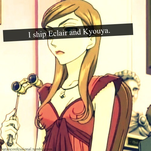 "ouranconfessional:  ""I ship Eclair Tonnerre and Kyouya Ootori. They're the rejects of the two leads (Haruhi & Tamaki) and they're both extremely ambitious. Power couple, anyone?!""  i can see that happening actually, they would make a really good couple :)"