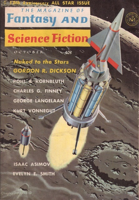 "The Magazine of Fantasy and Science Fiction  October, 1961.  Cover art by Chesley Bonestell.  B-A Note:  I was corresponding this morning with a co-worker by the last name of Bergeron.  This made me think of Vonnegut's dystopian short story ""Harrison Bergeron"", first published in the October 1961 issue of The Magazine of Fantasy and Science Fiction, and later republished in Vonnegut's short-story collection ""Welcome to the Monkey House"".  Many thanks to Belated Nerd for actually having an image of this issue.  The internet is truly a marvellous thing!  Belated Nerd is a great site for pop culture history fans. Check it out and enjoy."