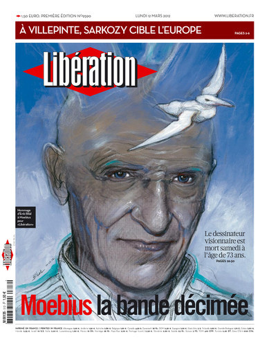 joekeatinge:  The cover of Liberation, one of the largest newspapers in France, featuring a tribute to Moebius and a cover by famed bande dessinee illustrator Enki Bilal.