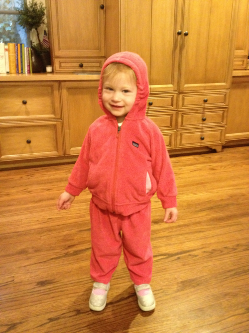 Baby Tess is ready for the cold weather!  Cold meaning 57 degrees, of course.  Also, this sweat suit is sized 12 months.  Should I conclude that she is tiny, or that the sweat suit is gigantic?