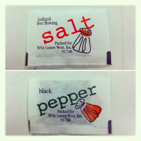 Salt and pepper here!