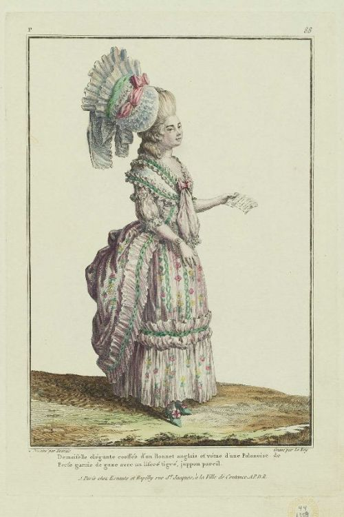 Gallerie des Modes, 1778.  There is a lot of look here, but how sweet are those little shoes peeking out?