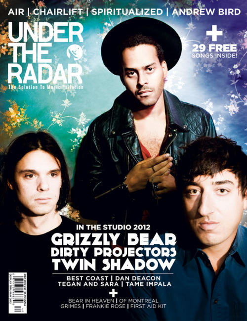 Under the Radar's Winter (March/April) Issue will be hitting the stands soon. The issue features an In the Studio 2012 themed cover with the frontmen of three notable acts set to release new albums later this year—Dirty Projectors' Dave Longstreth, Grizzly Bear's Ed Droste, and Twin Shadow's George Lewis Jr. All three were photographed together exclusively for Under the Radar in New York City by photographer Tommy Kearns. (via Under the Radar Announces Winter 2012 Issue with Dirty Projectors, Grizzly Bear, and Twin Shadow | Under The Radar)