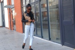 blackfashion:  Outfit Post: Monday  I'm wearing: ASOS Leopard Biker Jacket, Vintage Studded Sweater, Vintage Acid Wash Denims, Sunglasses: Tom Ford, Belt: Vintage, Shoes: New Kid Flats and Vintage Bag.  That vintage studded jacket is fab. The entire outfit is annoying great, and I feel as if only a select few could pull it off. I will obtain every article of it (or at least something along the lines of it) in attempt to pull it off.