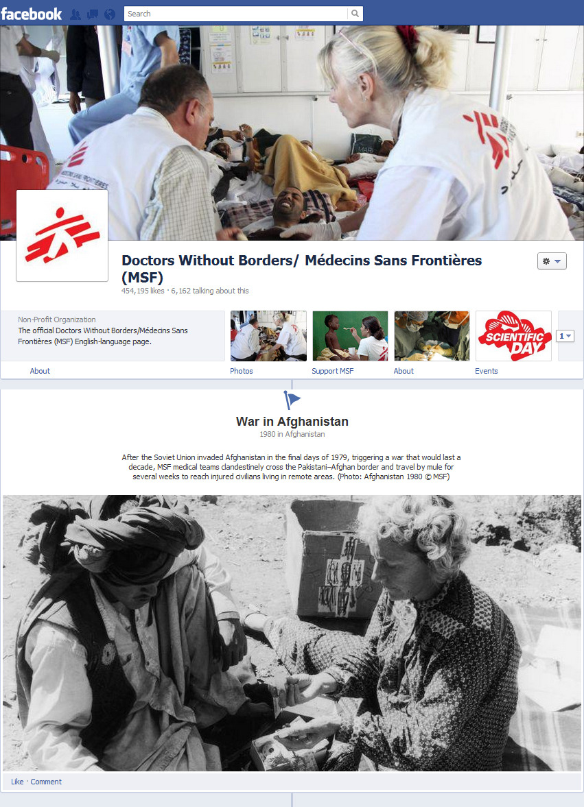 "doctorswithoutborders:  On our new Facebook Timeline page, you can view milestones from the organization's past, starting with 1971, the year a group of French doctors and journalists created MSF in the wake of the war and accompanying famine in Biafra, Nigeria, and the floods in eastern Pakistan (now Bangladesh). We got a nod from Fast Company for our innovative use of the new Timeline layout to create an ""emphasis on narrative, history, and photography"" while ""while directly engaging with fans and patrons in ways pamphlets and mailers never could.""Go check it out and let us know what you think!"