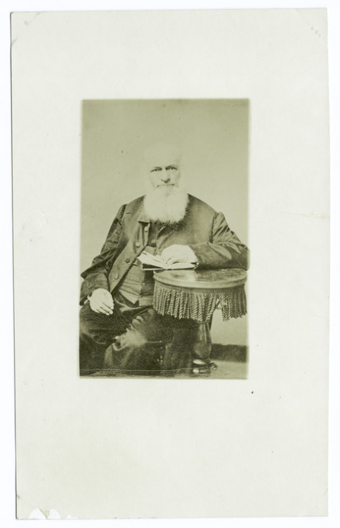"It's Mustache Monday again! Here is Calvin Stowe (c. 1860), who was married to Harriet Beecher Stowe, the famed abolitionist and author of Uncle Tom's Cabin. According to the excellent Harriet Beecher Stowe Center,   Calvin Stowe was a respected scholar and theologian who taught at Lane Seminary in Cincinnati, Bowdoin College in Brunswick, ME, and Andover Theological Seminary in Andover, MA. Calvin's ""Origin and History of the Books of the Bible"" was published in 1867. Calvin encouraged his wife's writing career, telling her she ""must be a literary woman.""  While he doesn't appear to be sporting a mustache in this image, Mr. Stowe does have a very impressive beard. What do you think he's reading?"