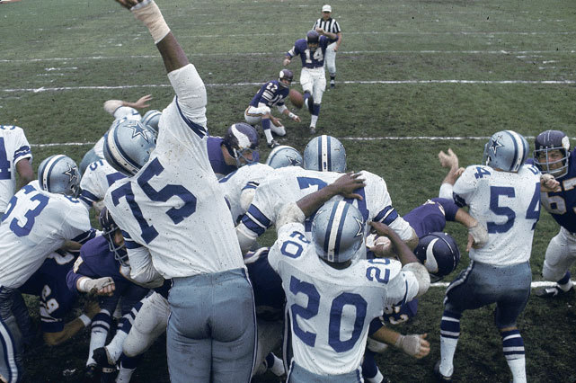 Vikings kicker Fred Cox attempts a field goal during a Jan. 1969 game against the Cowboys. (Neil Leifer/SI) KING MMQB: The latest with Peyton Manning, RG3, Mark Sanchez and more