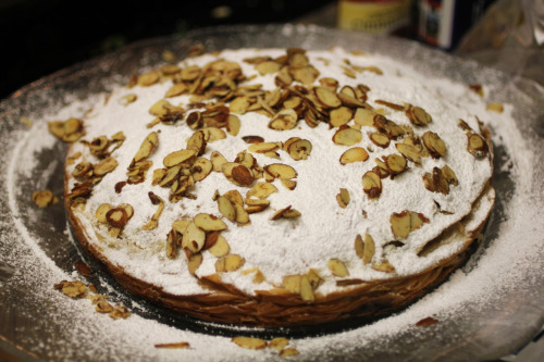 Homemade Moroccan pastilla with ground turkey, egg, golden raisins, almonds and powdered sugar.