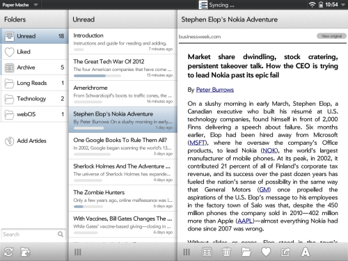 Paper Mache: A free Instapaper client for webOS and Android. http://www.ryanwatkins.net/software/papermache/