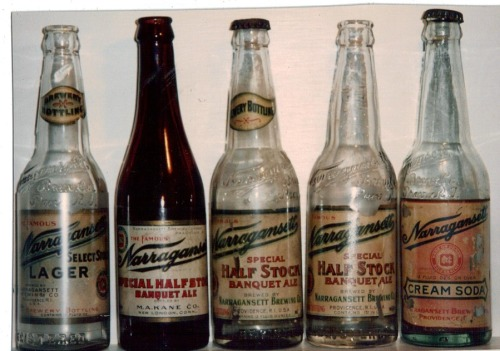 A hundred year old Narragansett bottles from the days before prohibition.