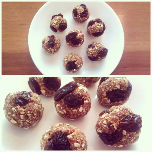 Riias Raw Vegan Oatmeal Raisin Cookie Balls  Ingredients: 1/2 cup Rolled Oats 8 Dates 1 tbsp Maple Syrup 1 tsp Vanilla Extract 1 tsp Cinnamon Handful of Raisins  How to: In a food processor, blend oats and dates. Once they reach a thick doughy consistency, add in maple syrup, vanilla, and cinnamon. Blend until snack bar texture forms. Mix in raisins with a spoon. Roll into little balls. Refridgerate. Enjoy! :)