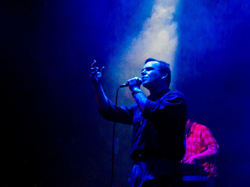 Future Islands @ The Haunt, Brighton on 9th March 2012 on Flickr. I only became aware of Future Islands at the end of 2011 having seen them play at the ATP, Nightmare Before Xmas event in December. They're a trio of a brilliant an understated bassist, a Chris Lowe-esque synth player, and crooning frontman Samuel T. Herring. Samuel T. Herring makes me think of Jaz Coleman's younger, smaller, funkier brother. Same intensity, same passion, similar appearance - but Samuel is much more nimble on his feet. He's a brilliant front man. Constantly moving. Very expressive and displaying an extraordinary range of emotions, with dramatic hand gestures, occasionally grinning like a madman, even slapping himself across the face now and then. There's no half measures with Samuel T. Herring - he gives every line of every song everything he's got. He's also one of the best dancers I've ever seen. That alone would make Future Islands a compelling live experience however there's more. Future Islands trade in a wonderful brand of splendid synthpop that's chockablock with hooks and swelling melodies that generally seem to involve love, loss, yearning etc. It's a heady brew.