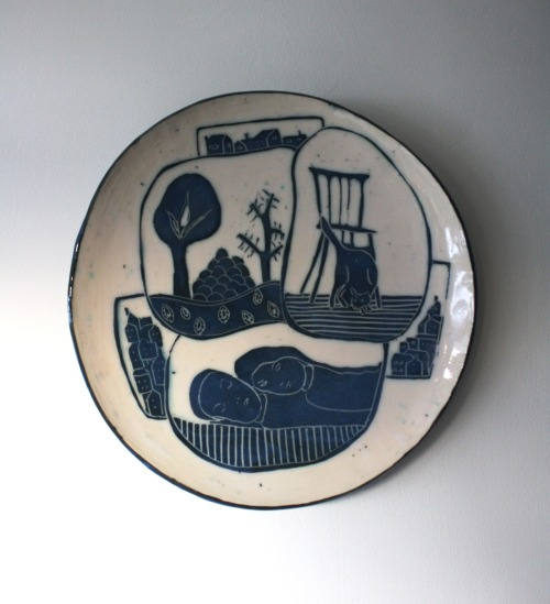 Kira O'Brien: The Night, 2011, Wall Platter, white earthenware, black and colored slips, 1150 transparent glaze, 35cm