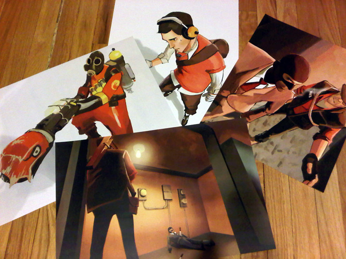 Some prints of the TF2 fanart I've done, taken with a bad camera phone eep! Thank you to everyone who has stuck around with me here, looked at my art, left comments, mail, just.. everything. Thank you so much, you're all amazing!