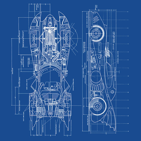 Batmobile Blueprints from Red Bubble