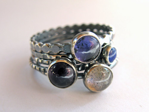 Sterling Silver Stacking Ring Set of 5 with Iolite, Lapis Lazuli, Amethyst, Labradorite - Deep Blue Dream From LichenAndLychee