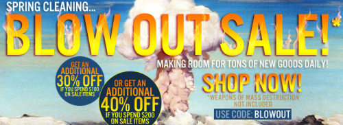 Karmaloop is having a spring cleaning blow out sale in which you can save 30% off when spending $100 or 40% off when spending $200! Save an additional 20% off if you use the rep code: illestmag Now that can be a 50%-60% off sale when combining our rep code + the blowout promo code! Hurry the spring blowout sale ends soon!