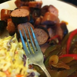 #marchphotoaday Day 12 | fork :: dinner - pork sausage, BBQ sautéed onion, green & red pepper and coleslaw #glutenfree #caseinfree  (Taken with instagram)
