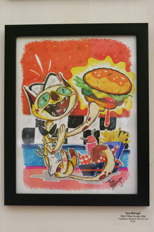 """Nifty Fifty Burger Bite"" Is a traditional piece done for the ""Ham Ba Ga"" Q Pop Art Show! It is for sale! If you are interested in owning this please click HERE for more details."