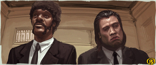 We should have fuckin' shotguns. Pulp Fiction illustrated by Robert Friis :: via xadhoom.deviantart.com
