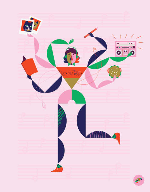 Here's a bigger image of The Big Issue music concentration piece. He's juggling so many things whilst getting down to his favourite Brian Eno track.