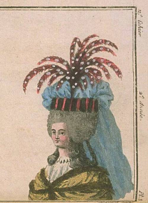 Magasin des Modes, February 1787.  Everything about this is crazy!