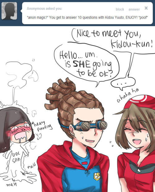 May: Hopefully… Kidou: Ah… I hope she gets well soon then. ooc: aslkjdfkljasdkf amsdmfkk kidoujsa jlk