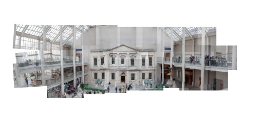 This is a photo of one of the squares in the Met.   My first attempt at panography. Not good at all. I'm realizing I need to start from a central point and work outward in a circular pattern. That way it will create a cooler fish eye/ explosive effect. I was too methodical and took the photos like I was going to stitch together a normal panorama.