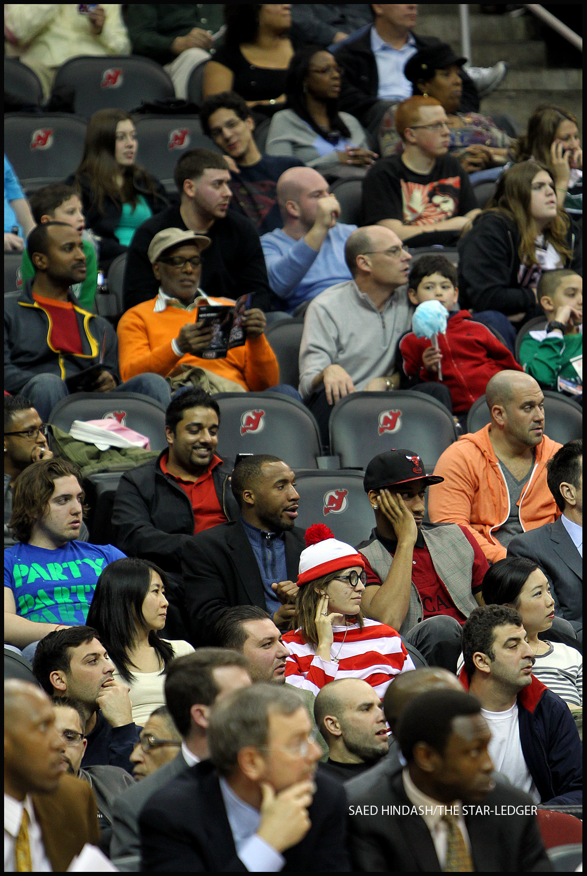Where's Waldo?  Spotted during the New Jersey Nets game Monday March 12, 2012 at the Prudential Center.