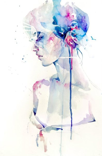 Watercolor painting by Agnes Cecile
