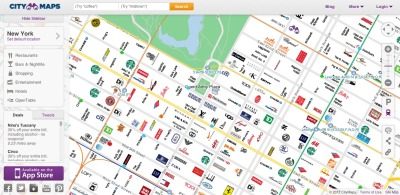 CityMaps - slippy map of branded New York